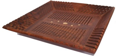 Woodino Handicrafts Woodino serv 01 Solid Wood Tray(Brown, Pack of 1)