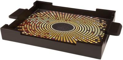 Art Potli Rustic Printed Wood Tray(Brown, Multicolor, Pack of 1)