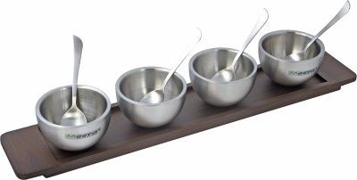 Meera Exclusive D/w Ice Cream Cup Set of 4 with Sleek Wooden Tray Solid Wood Tray