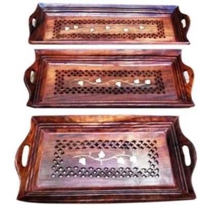 Onlineshoppee CAC62 Solid Wood Tray Set
