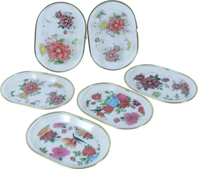 KBE Flower Printed Plastic Tray Set(Multicolor, Pack of 6)
