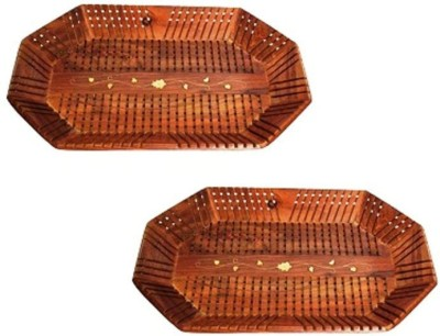 Onlineshoppee Handcrafted Serving Tray,Pack Of 2 Solid Wood Tray