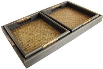 Kraftnation Chic Solid Bamboo, Wood Tray Set(Brown, Pack of 3) at flipkart