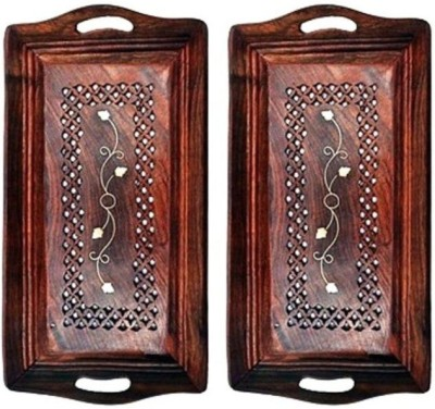 Onlineshoppee Pack Of 2 Solid Wood Tray Set