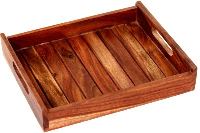SR Crafts Trendy natural sheesham wood tray from the latest collection of SR Crafts Solid Wood Tray(Brown, Pack of 1)