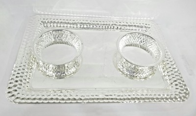 Eventz Gifts Dotted Hammered Silver Plated Tray Set