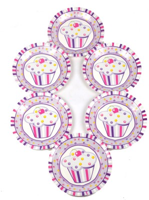 Funcart Sweettre At Cup Cake Pink Theme 9 Printed Paper Plate