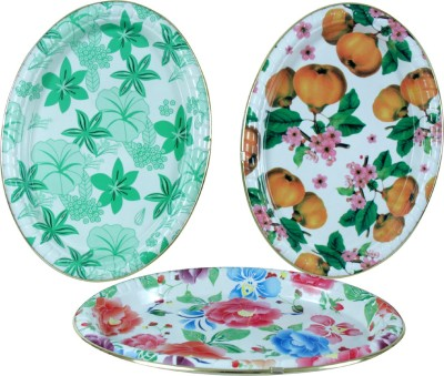 KBE Flower Printed Plastic Tray Set(Multicolor, Pack of 3)
