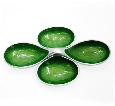 Indian Reverie Two Piece Enameled Snack Bowls Printed Aluminium Dish Set