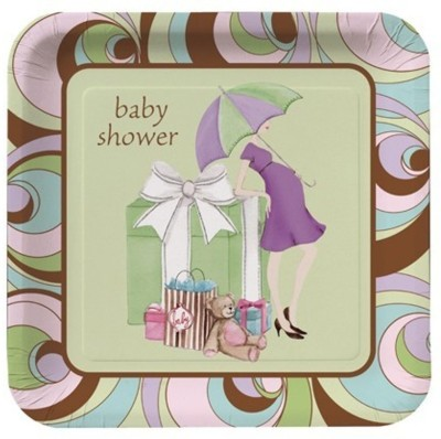 Amscan Parenthood Baby Shower Square Plates 10.25