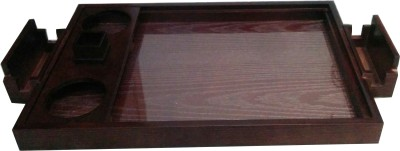 SLK Limited Edition Embossed Wood Tray(Brown, Pack of 1)