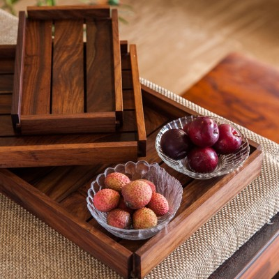 ExclusiveLane Nested Serving Trays In Sheesham Wood - Set Of 3 Engraved Wood Tray Set