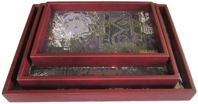 Belmun Red Leather Look Printed Wood Tray Set