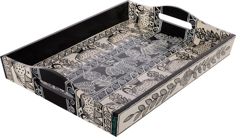 Kaushalam Large Painted: B & W Embossed Wood Tray(Black, Pack of 1)