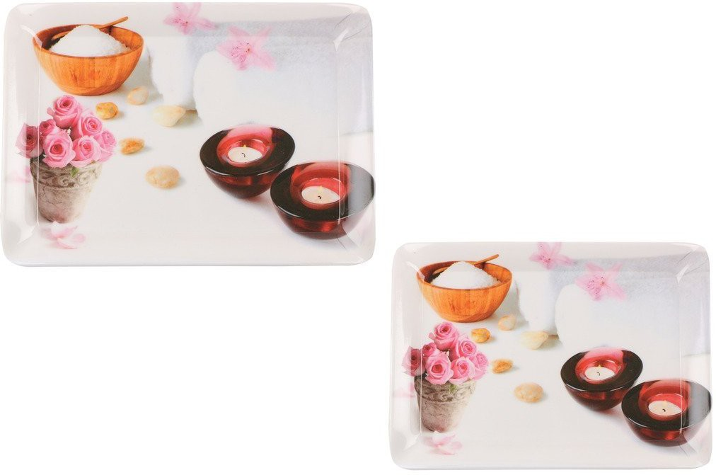 90 Degree Mirror Finish Printed Melamine Tray Set(Multicolor, Pack of 2)