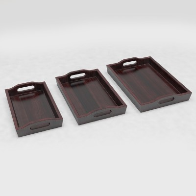 DecorNation Creative Traditional Solid Wood Tray Set(Brown, Pack of 3)
