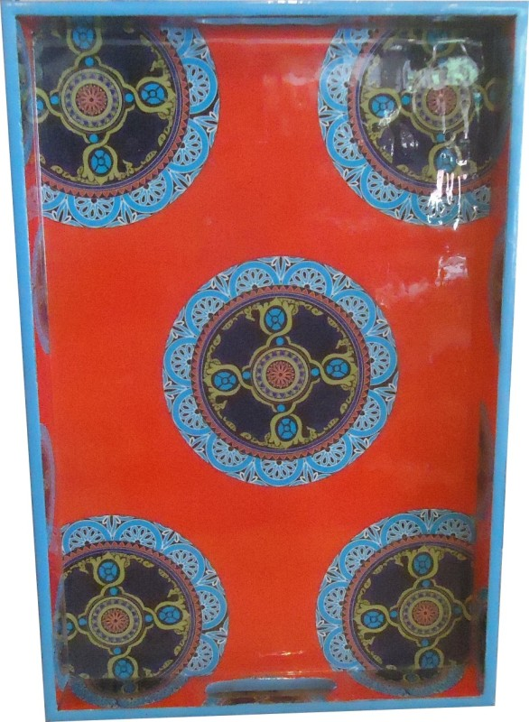 Home 2 Home Laminated Wooden Rangoli Fancy Print Printed Wood Tray(Multicolor)