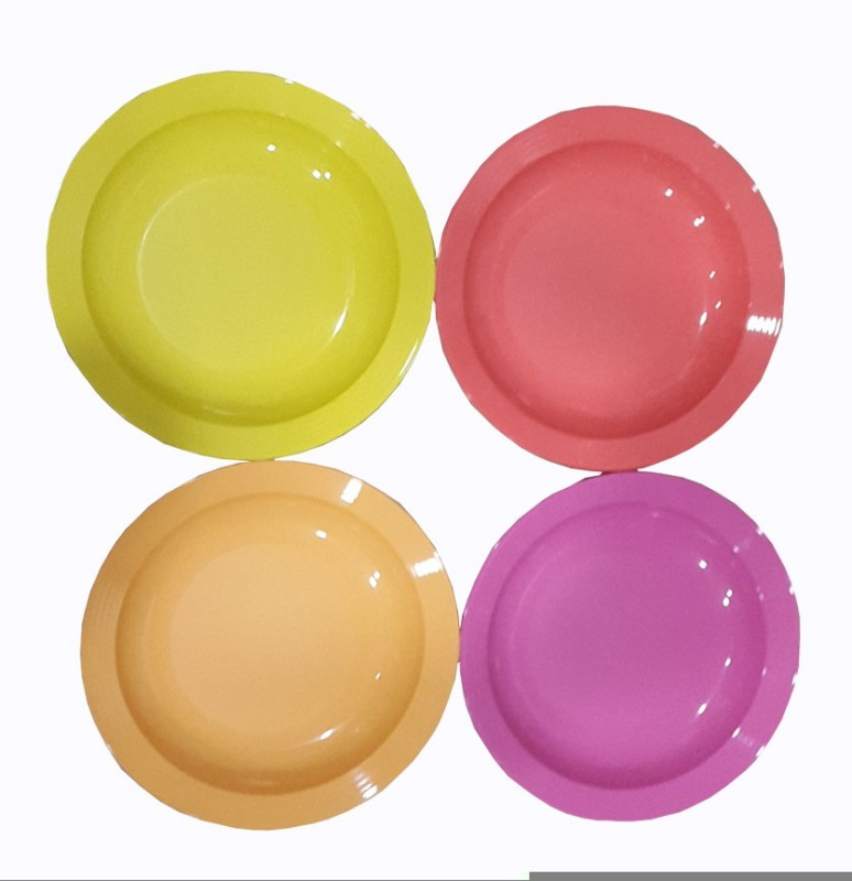 Tupperware Largedeep Solid Plastic Plate Set(Multicolor, Pack of 4)