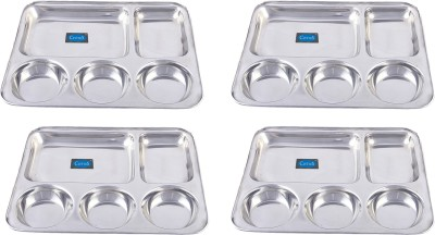 Clytius Rectangular Mess Solid Stainless Steel Plate Set