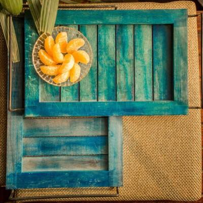 ExclusiveLane Elegant Engraved Wood Tray Set