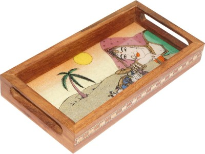 R S Jewels Wooden Real Gemstone Painting Engraved Wood Tray