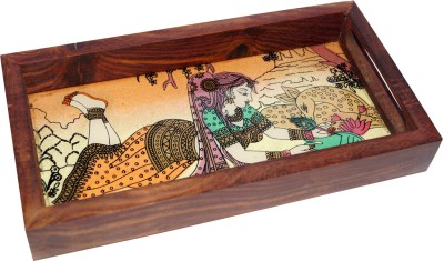 R S Jewels Handmade Gemstone Painting Engraved Wood Tray