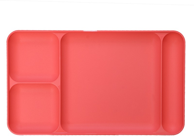 Tupperware Dinning Tray Solid Plastic Plate(Red, Pack of 1)
