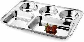 Royal Sapphire Solid Stainless Steel Plate(Silver, Pack of 1)