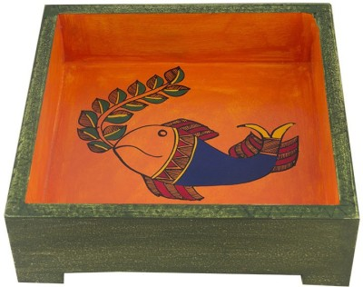 Indikala Square Ethnic with Fish Figures ( 7 Inch ) Printed Wood Tray