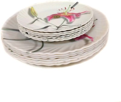Wood & kemp Smart Dinning Maria 12 pieces Printed Melamine Plate Set