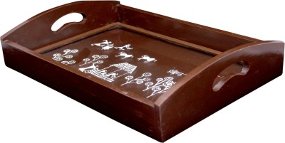 Cliink Art Warli Painted Designer Engraved Wood Tray