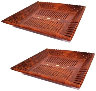Onlineshoppee Solid Wood Tray Set