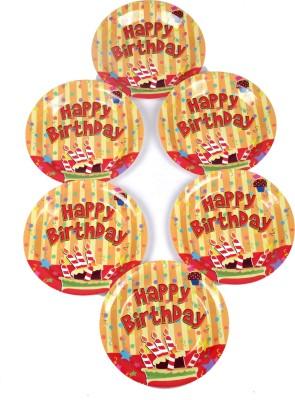 Funcart Stripe Birthday Theme 9 Inch Printed Paper Plate
