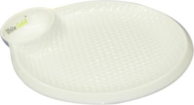 White Gold 913 Chip & Dip 9.3 Round Porcelain Platter Embossed Porcelain Plate