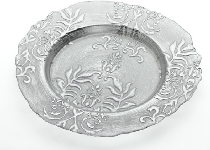 Foyer GLPLAG101564 Embossed Glass Plate(Silver, Pack of 1)