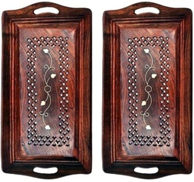 Onlineshoppee Serving Tray Pack Of 2 Solid Wood Tray Set