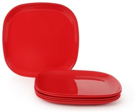 JOY HOME Quarter Plate Solid Plastic Plate(Red)