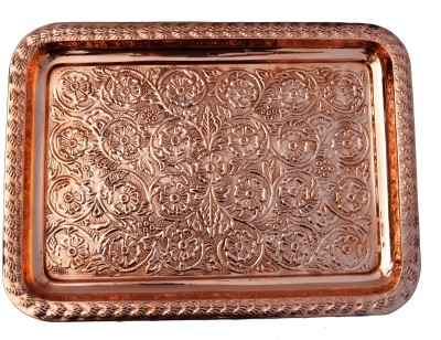 Veda Home & Lifestyle COPPER EMBOSSED SERVING TRAY Embossed Copper Tray