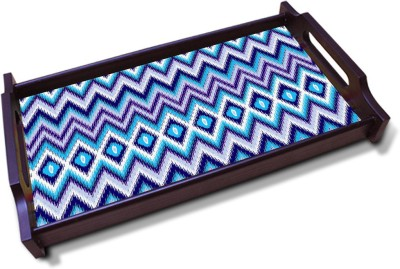 Kolorobia Blue Chevron seamless Solid Wood Tray