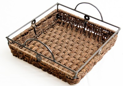 Rista Handicrafts Wrought Iron Tray Printed Bamboo Tray