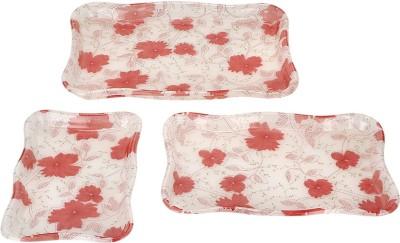 Pratha Flowery Printed Plastic Tray Set