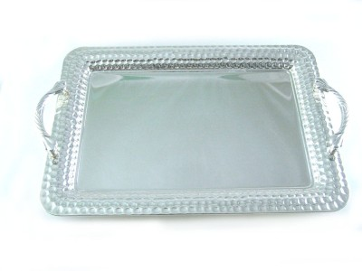 Ekaani Dotted Hammered Silver Plated Tray