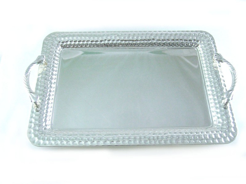 Ekaani Dotted Hammered Silver Plated Tray(Silver, Pack of 1)