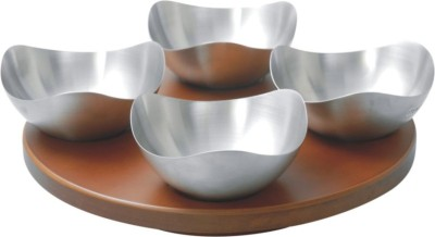 Meera Exclusive Revolving Wooden Snacks Tray Set with 4 pc. 3 Edge Nut Bowls Solid Wood Tray