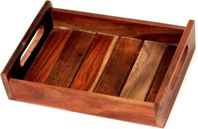 SR Crafts Embellished Wood Tray(Brown, Pack of 1)