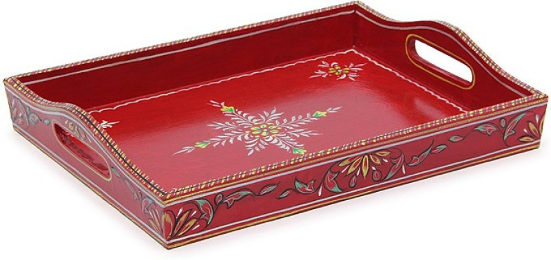 Kaushalam Large Painted: Red Embossed Wood Tray(Red, Pack of 1)
