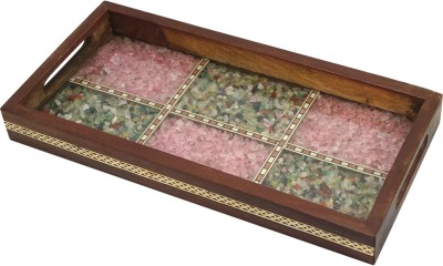 R S Jewels Efficient Gemstone Wooden Engraved Wood Tray