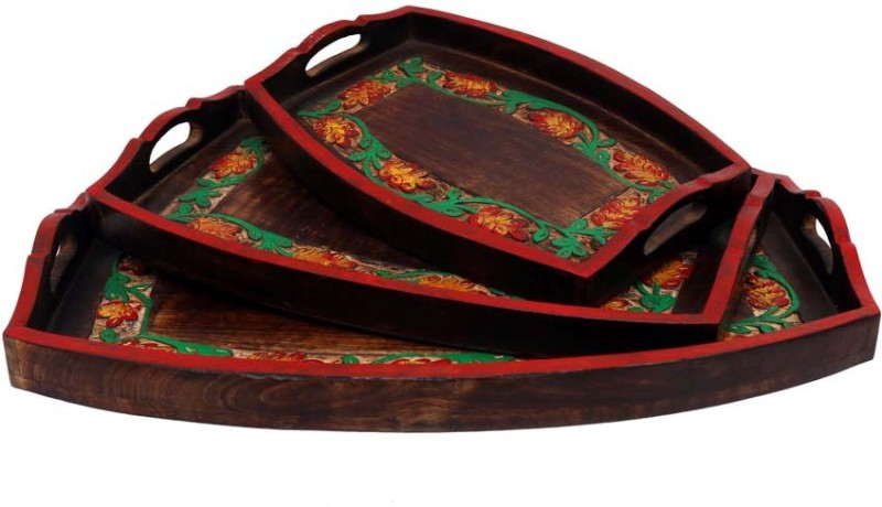 Indikala Indikala Set of Three Multicoloured Ethnic Wooden Trays Printed Wood Tray Set(Brown, Pack of 3)