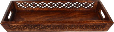 The Decor Mart Natural wooden Tray Engraved Wood Tray