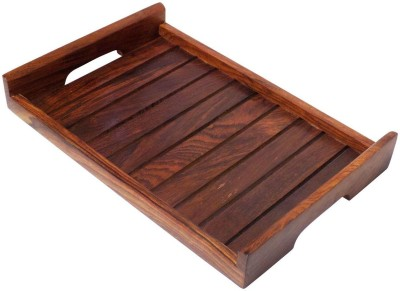 Crafts,man Wooden Hand Crafted Strip Design Embossed Wood Tray(Brown, Pack of 1)